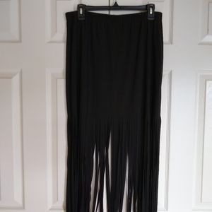 New Venus Black Maxi Fringe Skirt XL